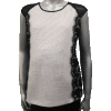 St. John's Sequins Knit Raglan Vest, Lace Side Panel, Chiffon Sleeves