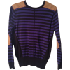Purple and Grey Striped Knit Pullover with Suede Details