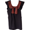 Charcoal Ponte Vest with Rust Leather Bow