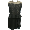 Gold Background with Middle Lace overlay and Net Yoke Overlay on Chiffon Peplum Vest