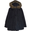 Black Poly Maternity Winter Jacket with Faux Trim Hood